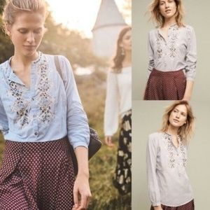 NWT FLOREAT by Anthropologie Blue White Blouse